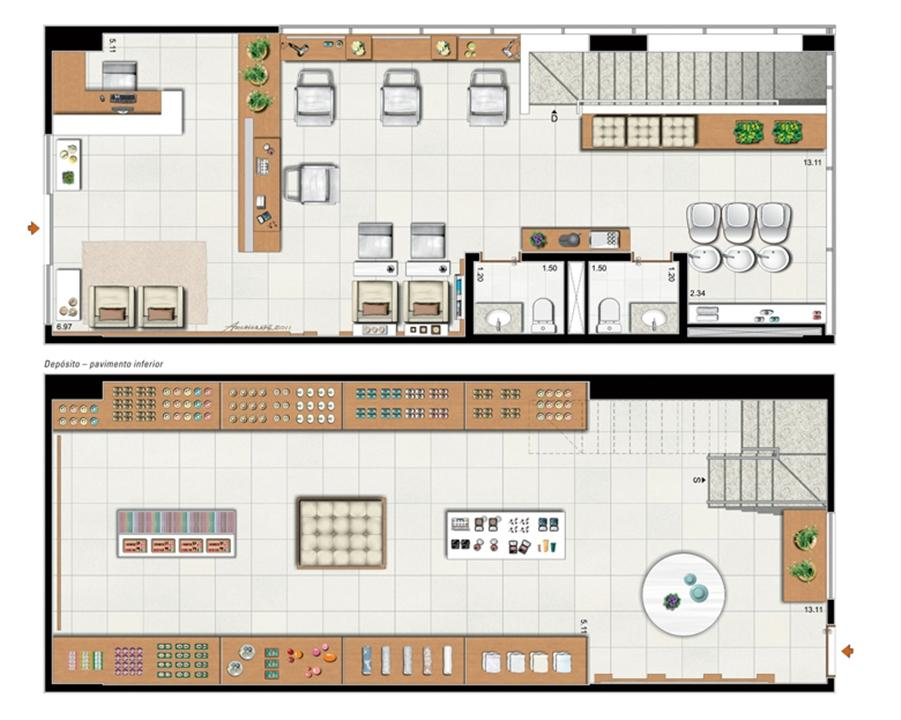 Planta de 104 m² privativos duplex | Vega – Salas Comerciaisna  Asa Norte  - Brasília - Distrito Federal