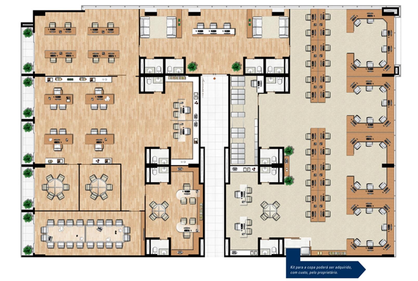 Planta de 104 m² privativos opção de junção | Vega – Salas Comerciais na  Asa Norte  - Brasília - Distrito Federal
