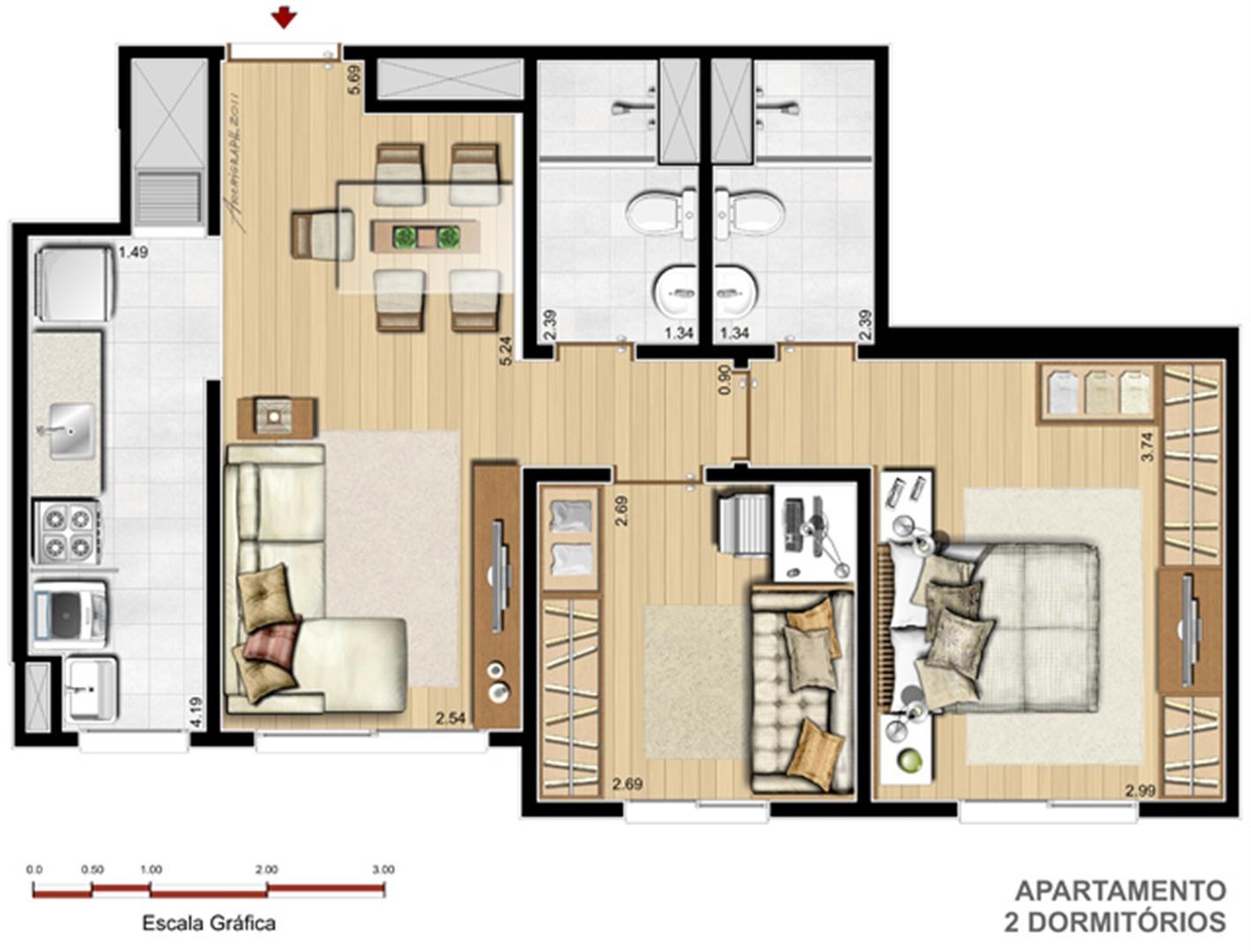 Apto. 2 dorms. com suíte - 56,21 m² | Way – Apartamento  Junto ao Menino Deus - Porto Alegre - Rio Grande do Sul