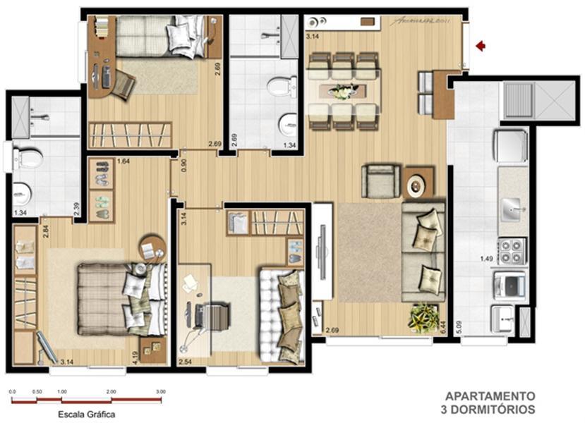 Apto. 3 dorms. com suíte - 70,58 m²
