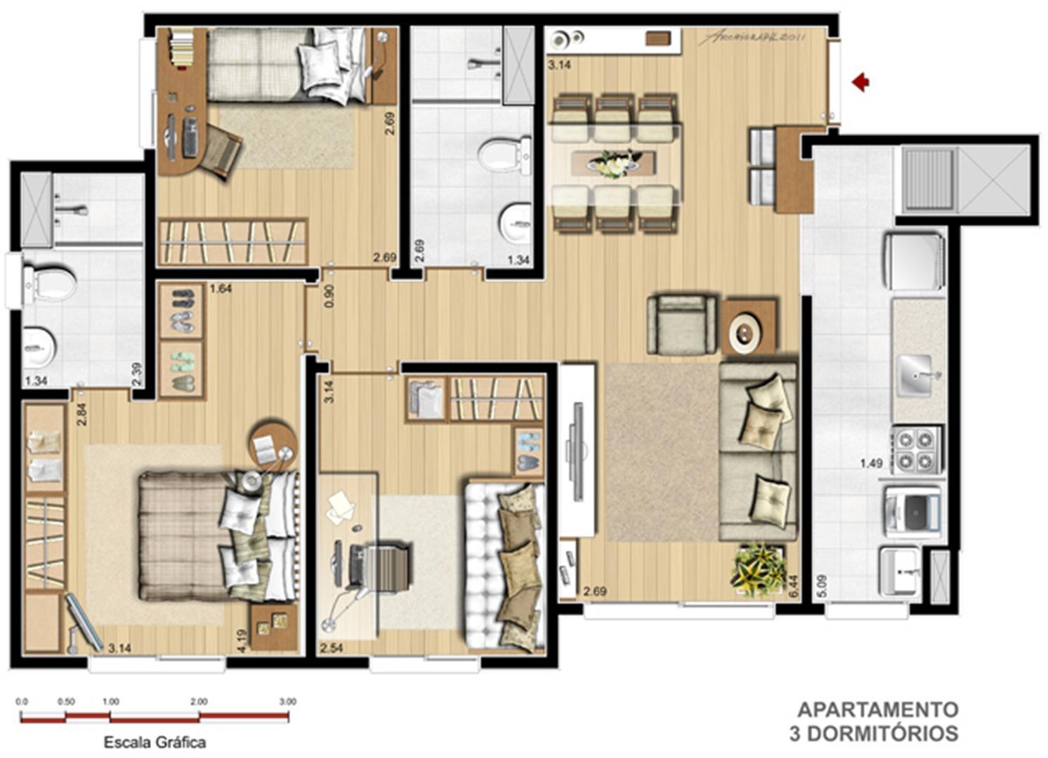 Apto. 3 dorms. com suíte - 70,58 m² | Way – Apartamento  Junto ao Menino Deus - Porto Alegre - Rio Grande do Sul