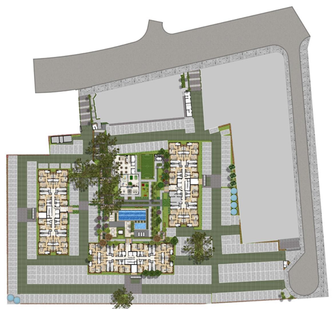 Perspectiva Ilustrada da Implantacao | Way – Apartamento  Junto ao Menino Deus - Porto Alegre - Rio Grande do Sul