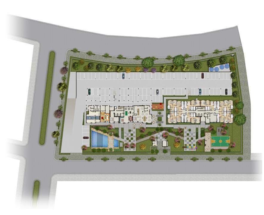 Perspectiva ilustrada da implantação | Grand Square Zona Norte – Apartamento  próximo ao Zaffari Center Lar - Porto Alegre - Rio Grande do Sul
