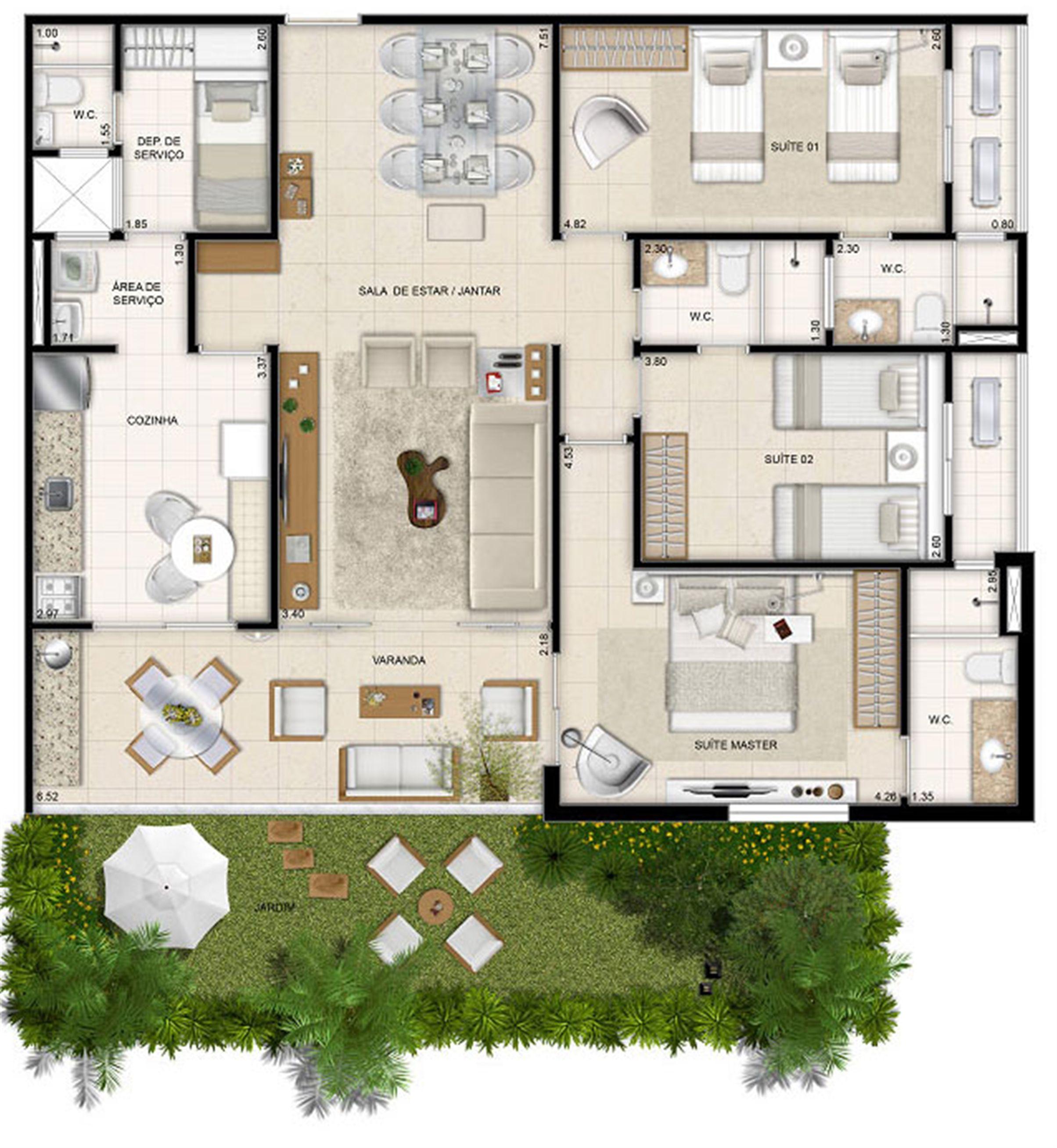 Perspectiva ilustrada da planta Mason Makani 126 m² | Mandara Kauai – Apartamento no  Porto das Dunas - Aquiraz - Ceará