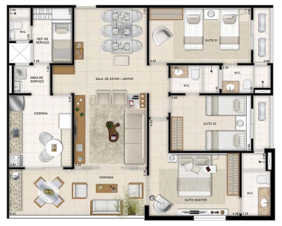 Perspectiva ilustrada da planta tipo Makani 126 m² | Mandara Kauai – Apartamentono  Porto das Dunas - Aquiraz - Ceará