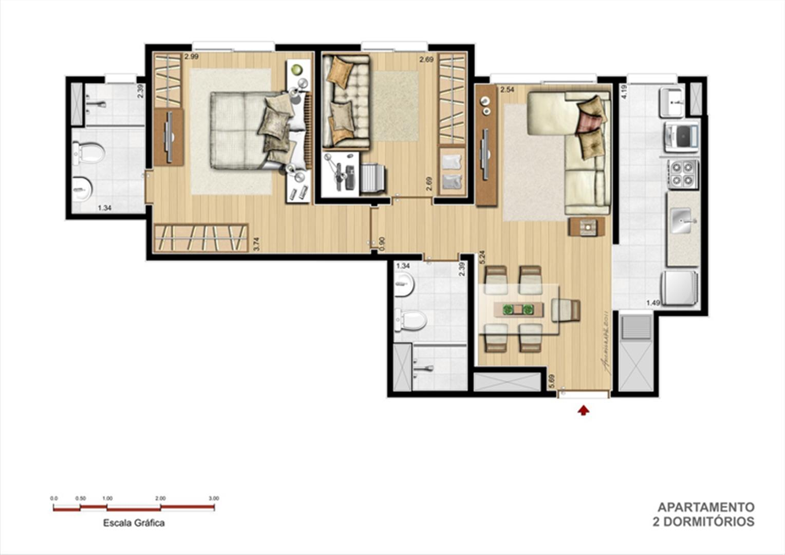 Terreo A - Tipo 2 dormitórios | Supera Condomínio Clube – Apartamento  próximo ao Zaffari Zona Sul - Porto Alegre - Rio Grande do Sul
