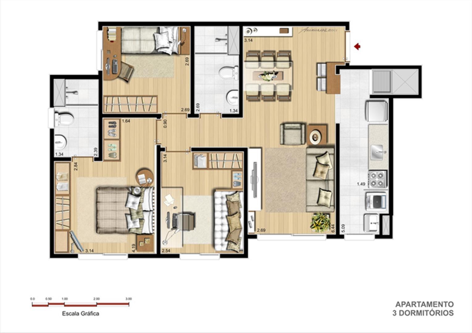 Tipo 3 dormitórios | Supera Condomínio Clube – Apartamento  próximo ao Zaffari Zona Sul - Porto Alegre - Rio Grande do Sul