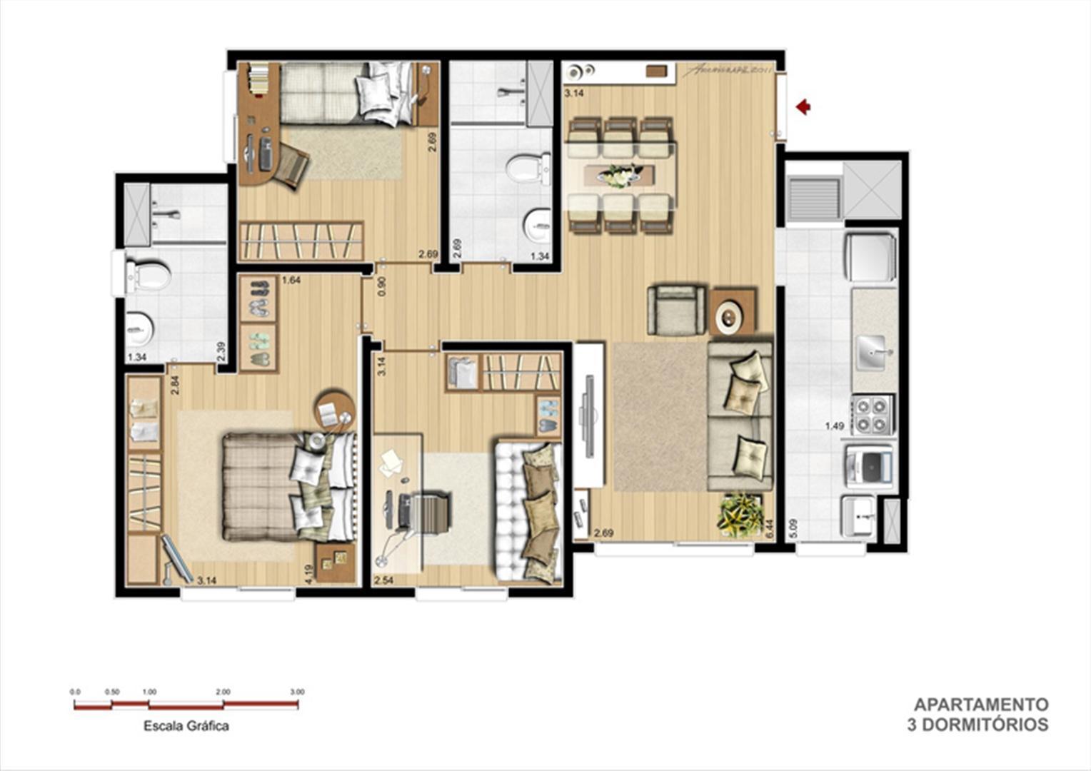 Torre A - Tipo 3 dormitórios | Supera Condomínio Clube – Apartamento  próximo ao Zaffari Zona Sul - Porto Alegre - Rio Grande do Sul