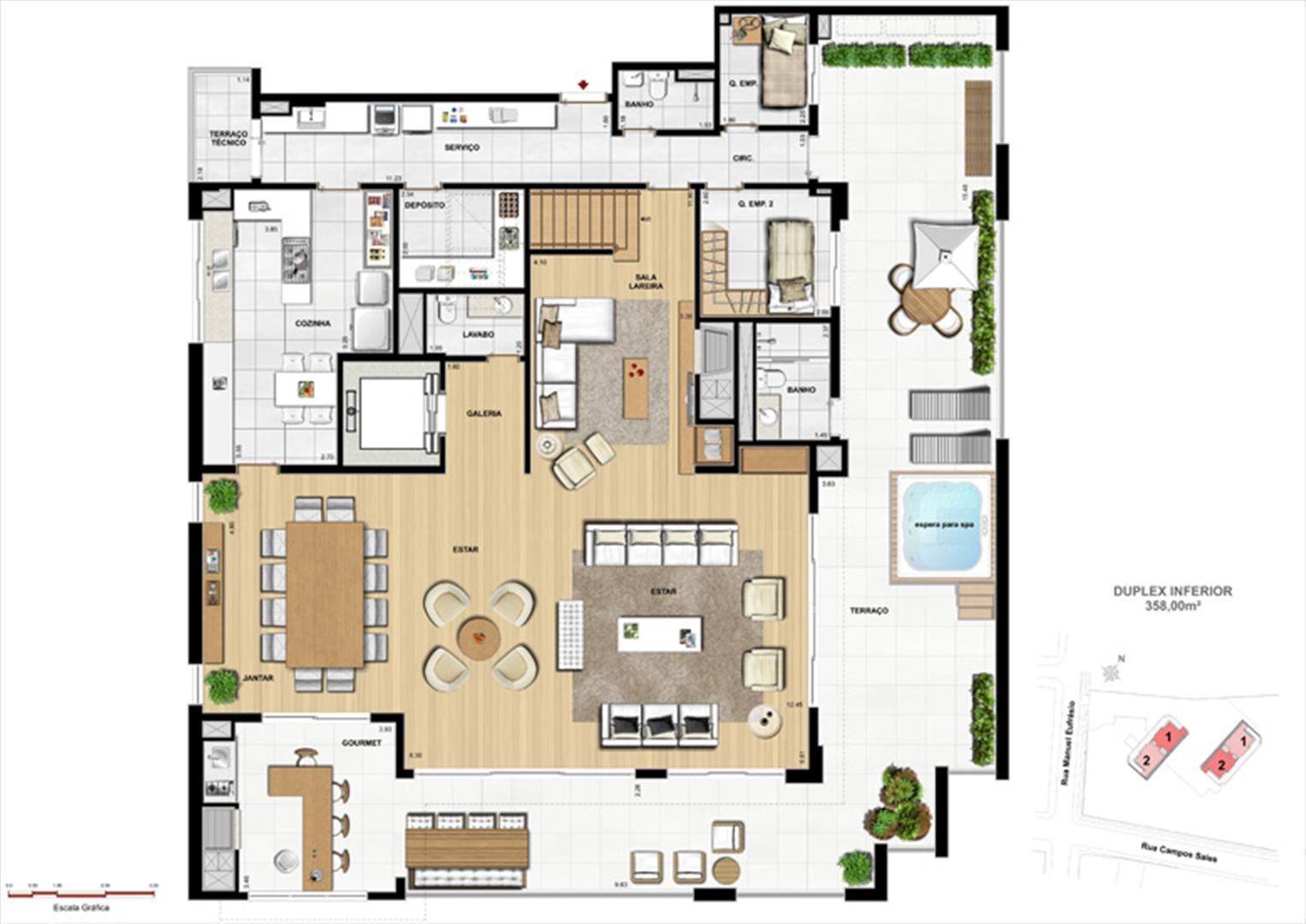 Duplex inferior | Le Chateau  – Apartamento no  Juvevê - Curitiba - Paraná