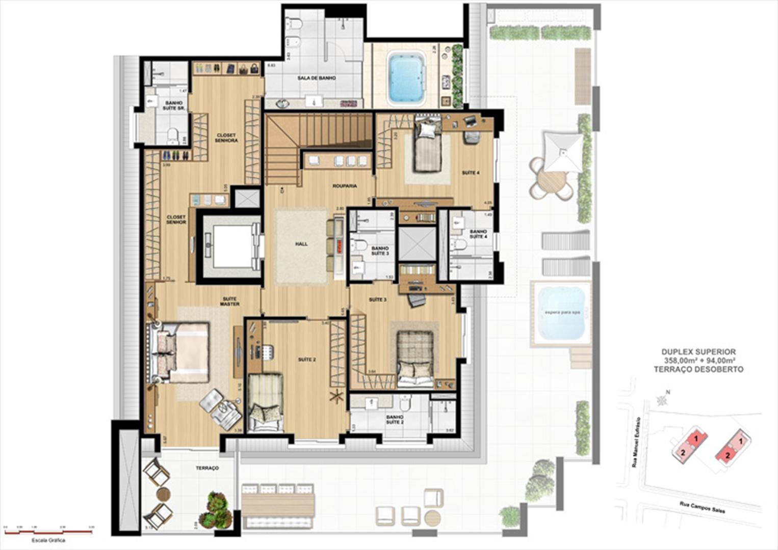 Duplex superior | Le Chateau  – Apartamento no  Juvevê - Curitiba - Paraná