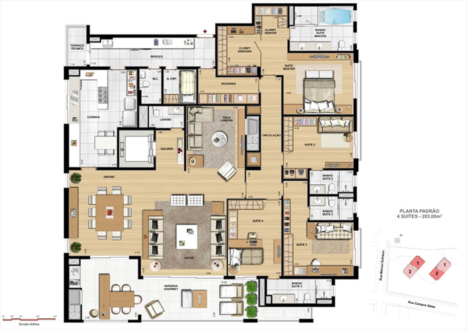 Padrão 4 suítes | Le Chateau  – Apartamento no  Juvevê - Curitiba - Paraná