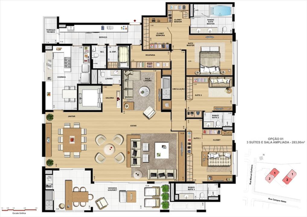 Sala ampliada | Le Chateau  – Apartamentono  Juvevê - Curitiba - Paraná