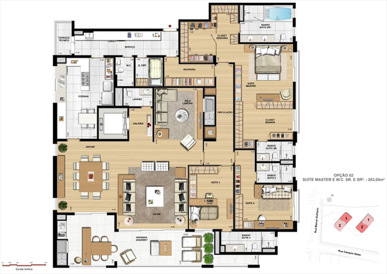 Suíte master | Le Chateau  – Apartamento no  Juvevê - Curitiba - Paraná