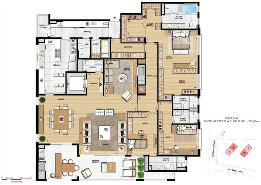 Suíte master | Le Chateau  – Apartamentono  Juvevê - Curitiba - Paraná