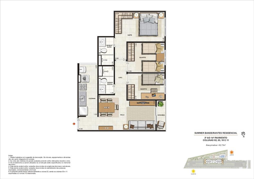 Ilustração artística da planta tipo 3 quartos | Summer Bandeirantes Residencial – Apartamentoem  Jacarepaguá - Rio de Janeiro - Rio de Janeiro
