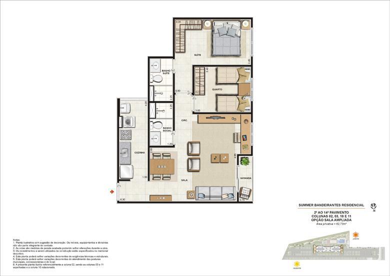 Ilustração artística da planta tipo 2 quartos com sala ampliada | Summer Bandeirantes Residencial – Apartamento em  Jacarepaguá - Rio de Janeiro - Rio de Janeiro