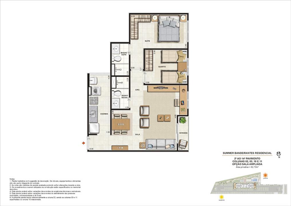 Ilustração artística da planta tipo 2 quartos com sala ampliada | Summer Bandeirantes Residencial – Apartamentoem  Jacarepaguá - Rio de Janeiro - Rio de Janeiro
