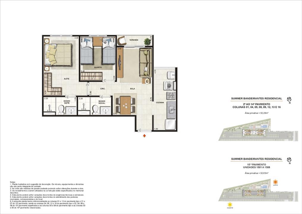 Ilustração artística da planta tipo 2 quartos | Summer Bandeirantes Residencial – Apartamentoem  Jacarepaguá - Rio de Janeiro - Rio de Janeiro