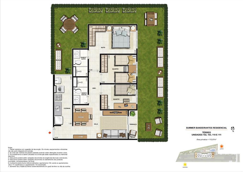 Ilustração artística da planta tipo 3 quartos - Térreo | Summer Bandeirantes Residencial – Apartamentoem  Jacarepaguá - Rio de Janeiro - Rio de Janeiro