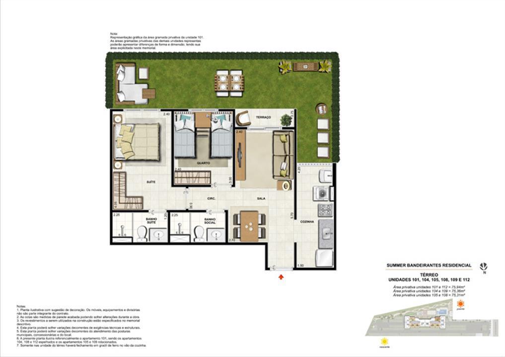 Ilustração artística da planta tipo 2 quartos - Térreo | Summer Bandeirantes Residencial – Apartamentoem  Jacarepaguá - Rio de Janeiro - Rio de Janeiro