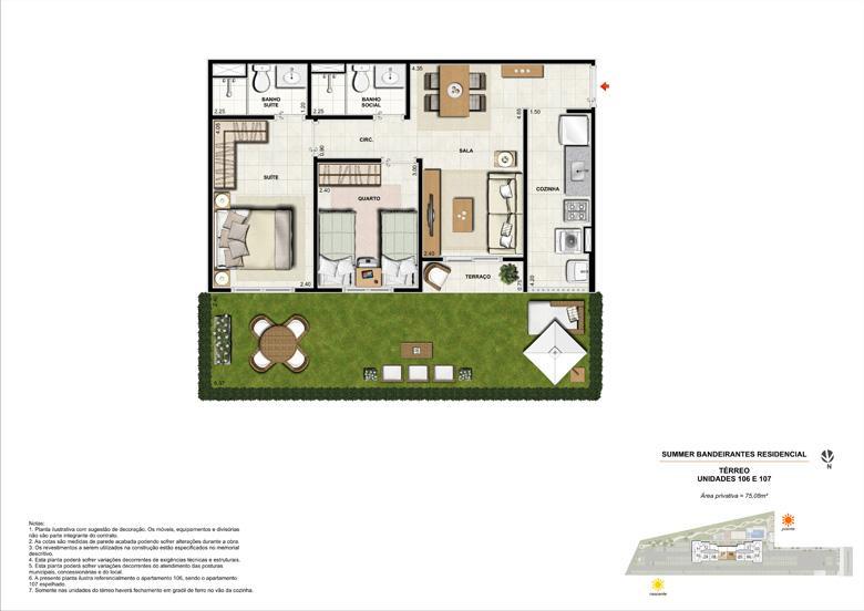 Ilustração artística da planta tipo 2 quartos - Térreo | Summer Bandeirantes Residencial – Apartamento em  Jacarepaguá - Rio de Janeiro - Rio de Janeiro