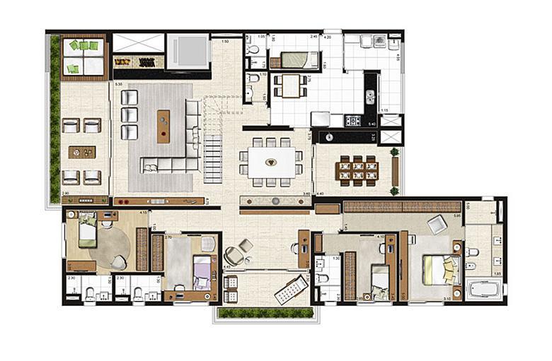 Cobertura Duplex 500m², planta pavimento inferior, 4 suítes, 6 vagas | Artisan Campo Belo – Apartamento no  Campo Belo - São Paulo - São Paulo