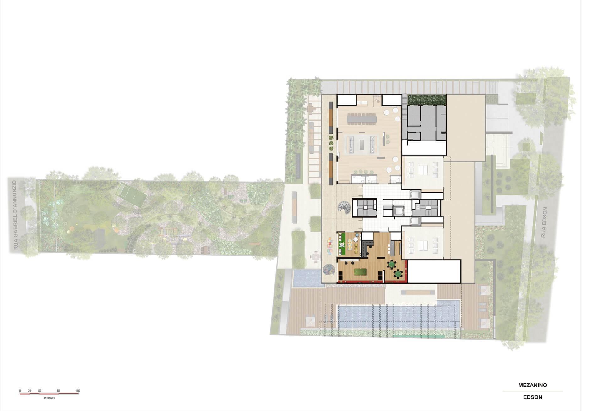 Perspectiva ilustrada da implantação Mezanino | Artisan Campo Belo – Apartamento no  Campo Belo - São Paulo - São Paulo
