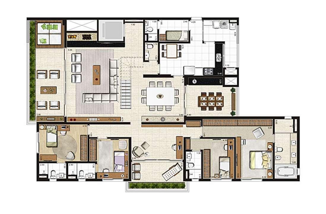 Cobertura Duplex 500m², planta pavimento inferior, 4 suítes, 6 vagas | Artisan Campo Belo – Apartamentono  Campo Belo - São Paulo - São Paulo