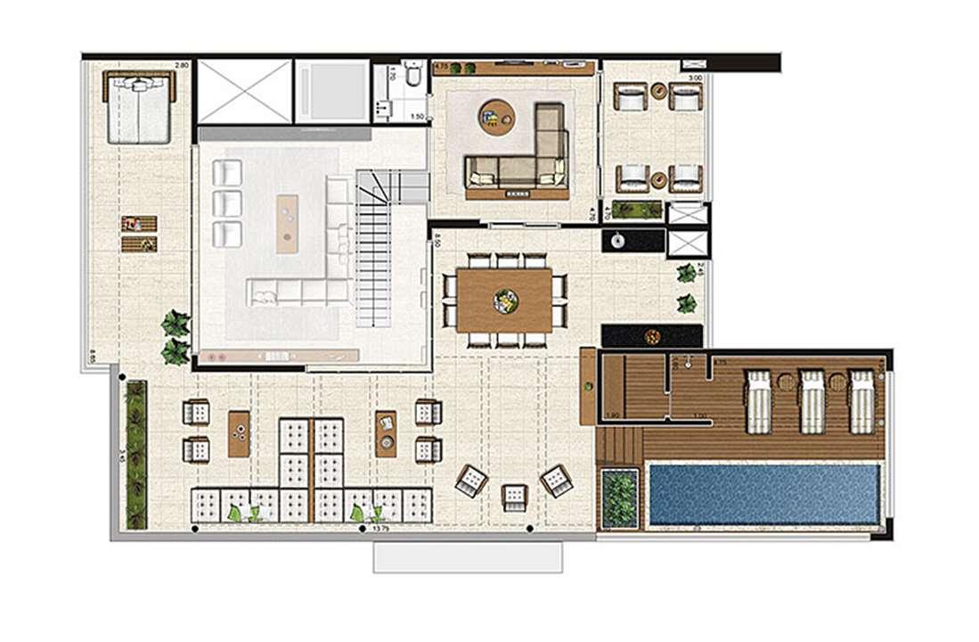 Cobertura Duplex 500m², planta pavimento superior, 4 suítes, 6 vagas | Artisan Campo Belo – Apartamentono  Campo Belo - São Paulo - São Paulo