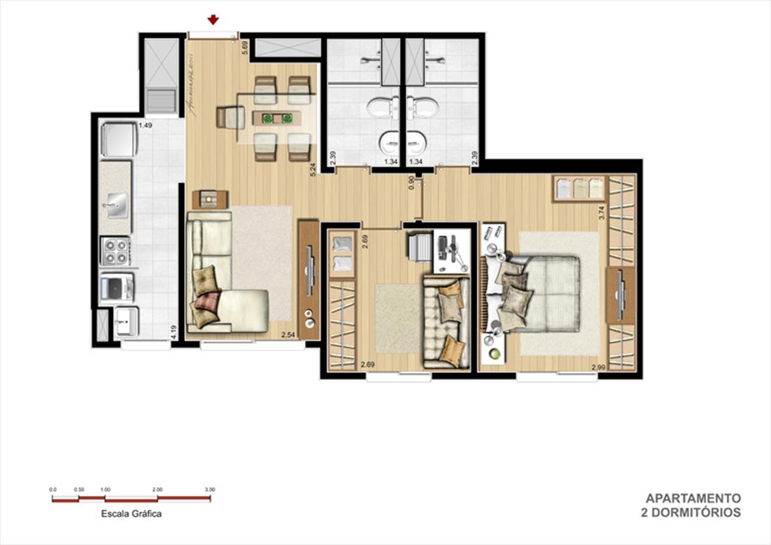 Planta 2dorm | You Condomínio Clube – Apartamento  próximo ao Zaffari Center Lar - Porto Alegre - Rio Grande do Sul