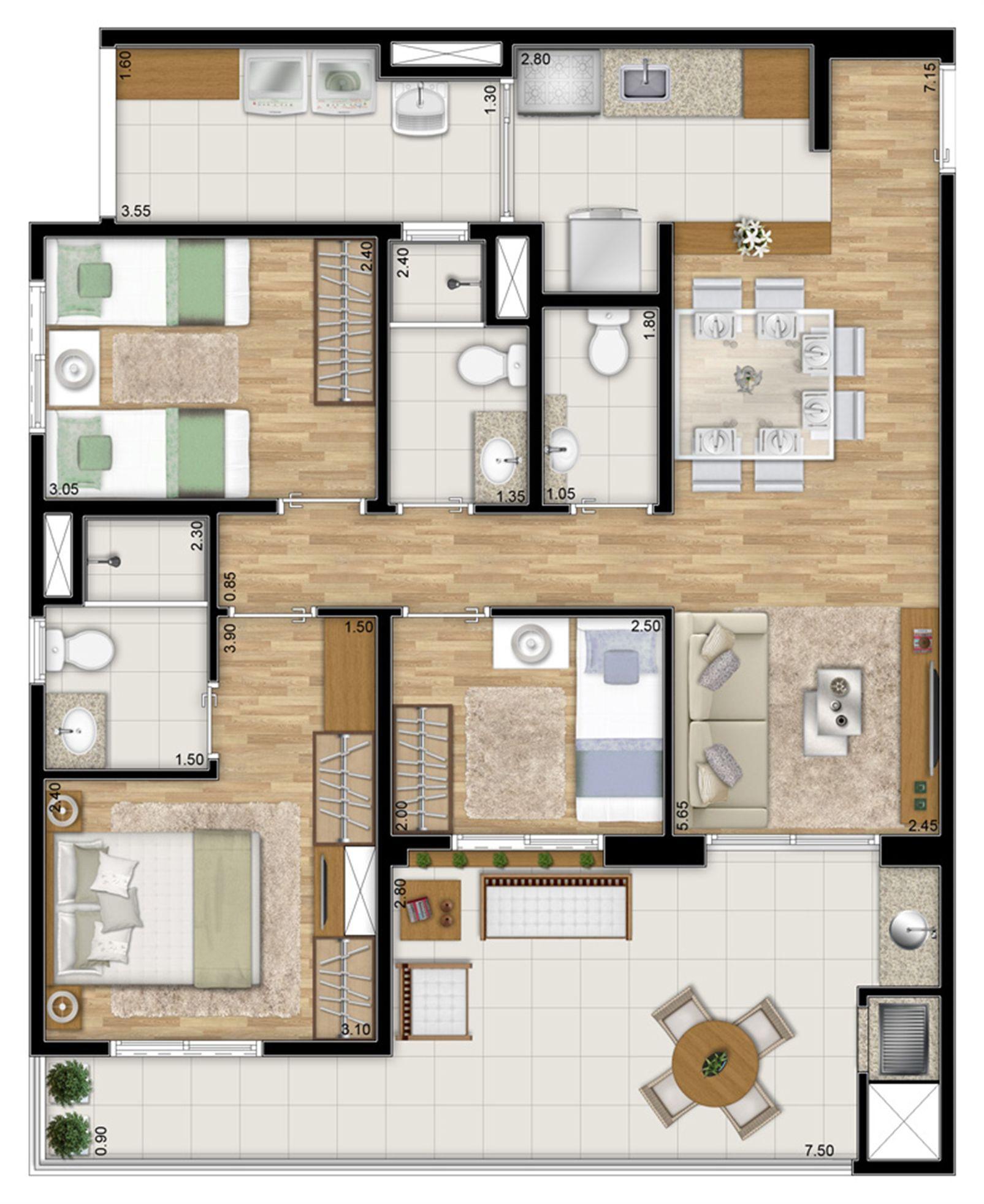Planta tipo do apartamento de 87 m² privativos - 3 dorms. c 1 suíte | Varanda Ipiranga – Apartamentono  Ipiranga - São Paulo - São Paulo