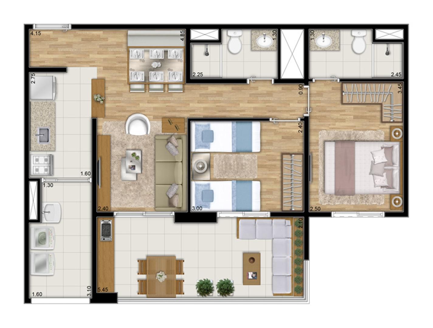Planta tipo ilustrada do apartamento de 68 m² privativos - 2 dorms. c 1 suíte | Varanda Ipiranga – Apartamento no  Ipiranga - São Paulo - São Paulo
