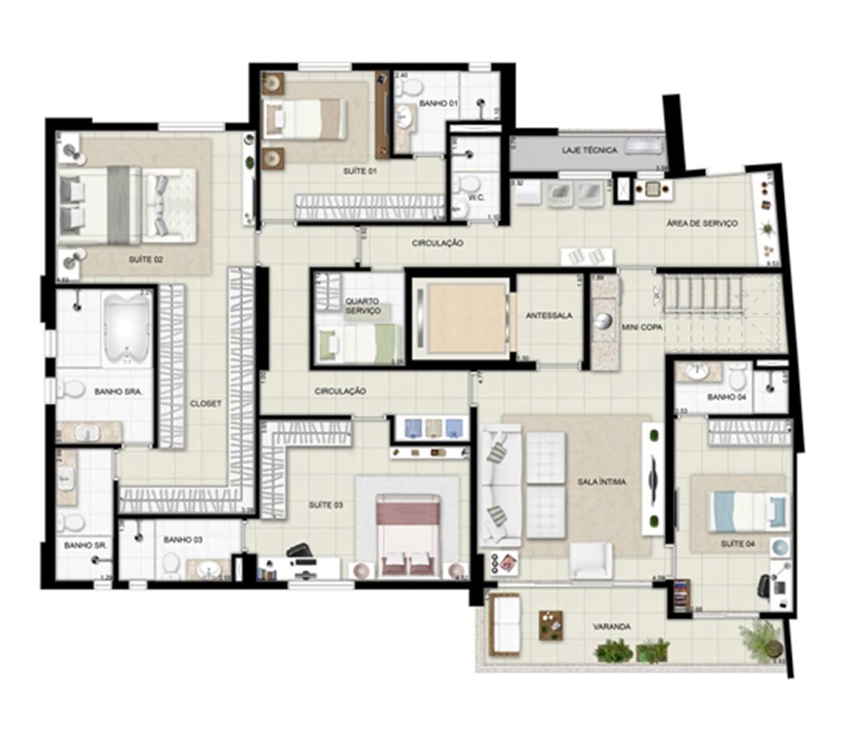 Planta duplex inferior - Torre Boulevard - Final 01 390 m² | Chateau Marista LifeStyle – Apartamento no  Setor Marista - Goiânia - Goiás