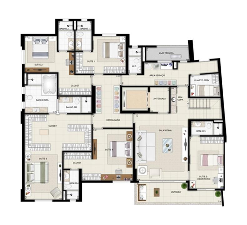 Planta duplex inferior - Torre Parc - Final 01 461 m² | Chateau Marista LifeStyle – Apartamentono  Setor Marista - Goiânia - Goiás