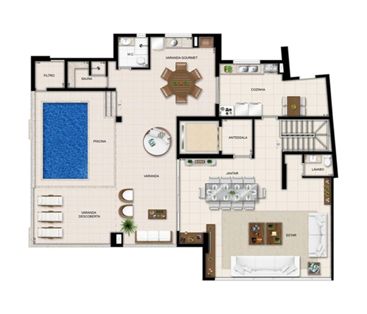 Planta duplex superior - Torre Boulevard- Final 01 390 m² | Chateau Marista LifeStyle – Apartamentono  Setor Marista - Goiânia - Goiás