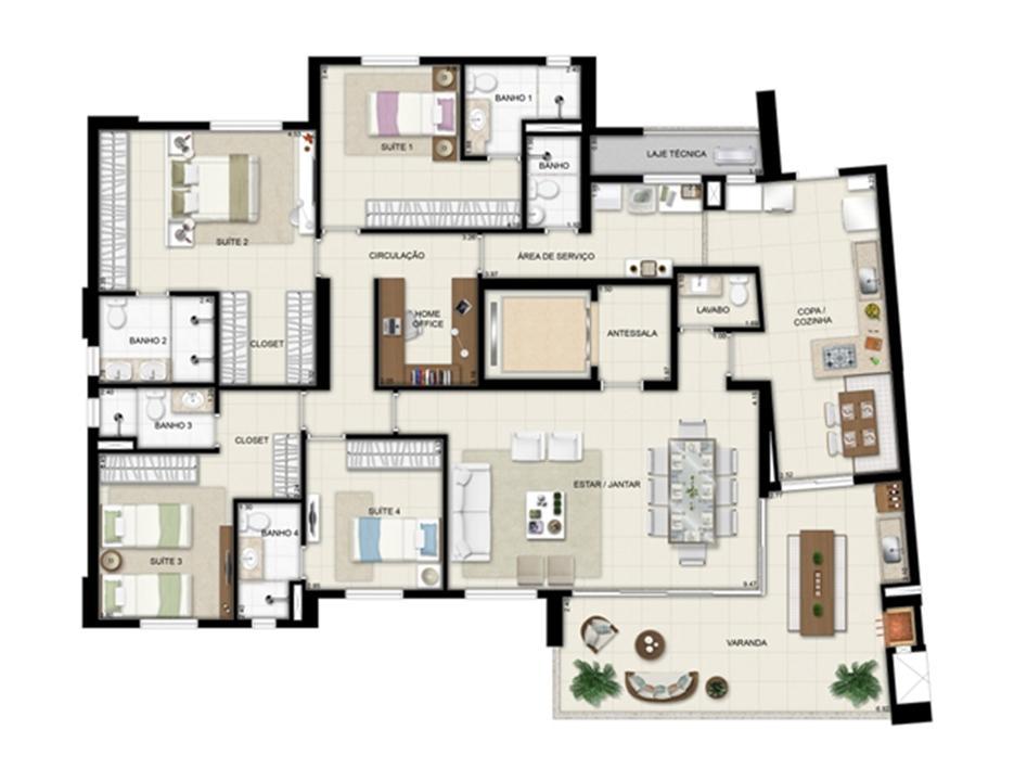 Planta opção - Torre Boulevard - Final 01 198 m² (2) | Chateau Marista LifeStyle – Apartamentono  Setor Marista - Goiânia - Goiás