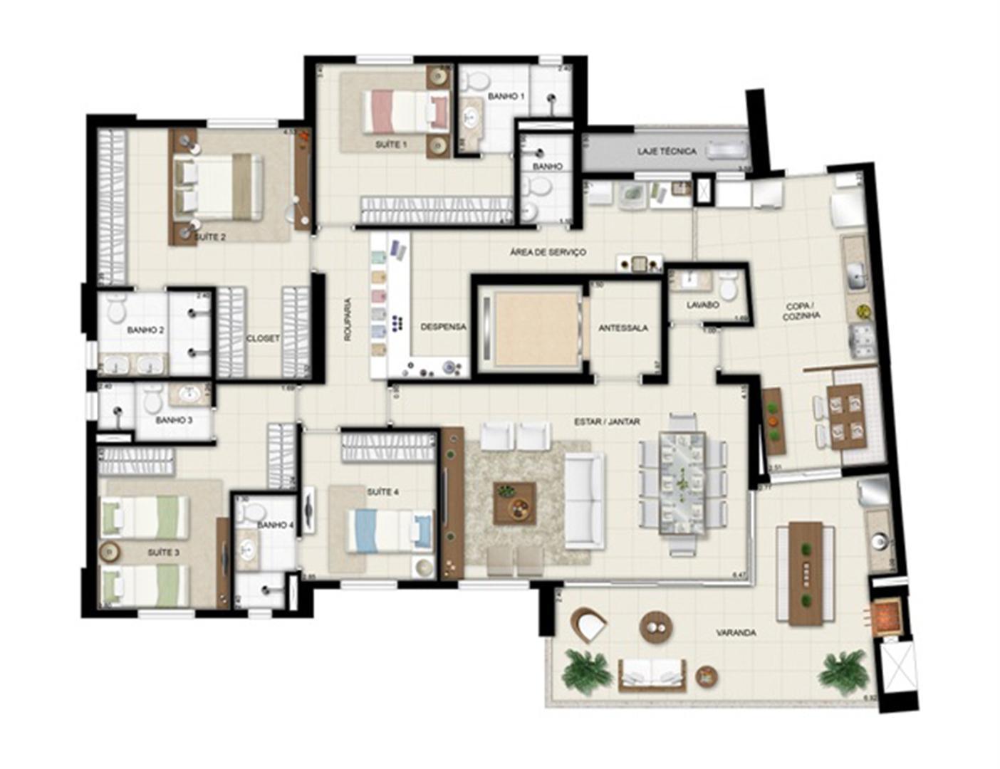 Planta opção - Torre Boulevard - Final 01 198 m² (3) | Chateau Marista LifeStyle – Apartamento no  Setor Marista - Goiânia - Goiás