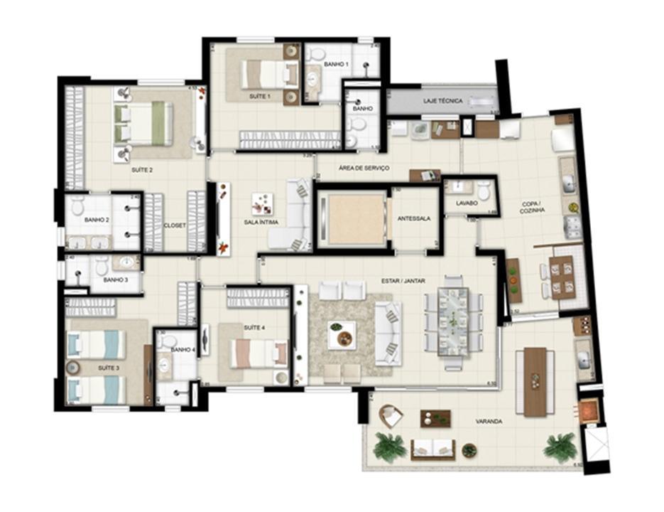 Planta opção - Torre Boulevard - Final 01 198 m² | Chateau Marista LifeStyle – Apartamentono  Setor Marista - Goiânia - Goiás