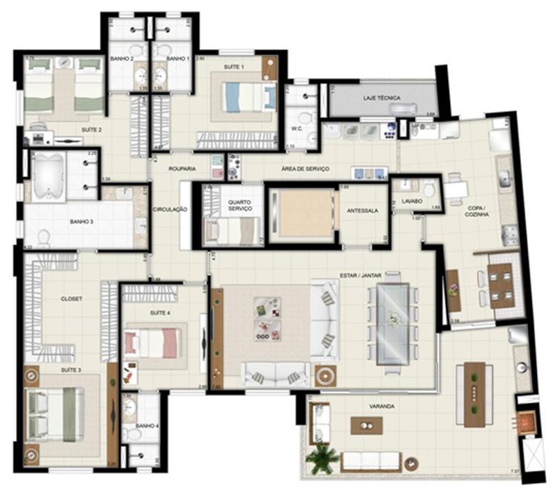 Planta opção - Torre Parc - Final 01 233 m² (3) | Chateau Marista LifeStyle – Apartamentono  Setor Marista - Goiânia - Goiás