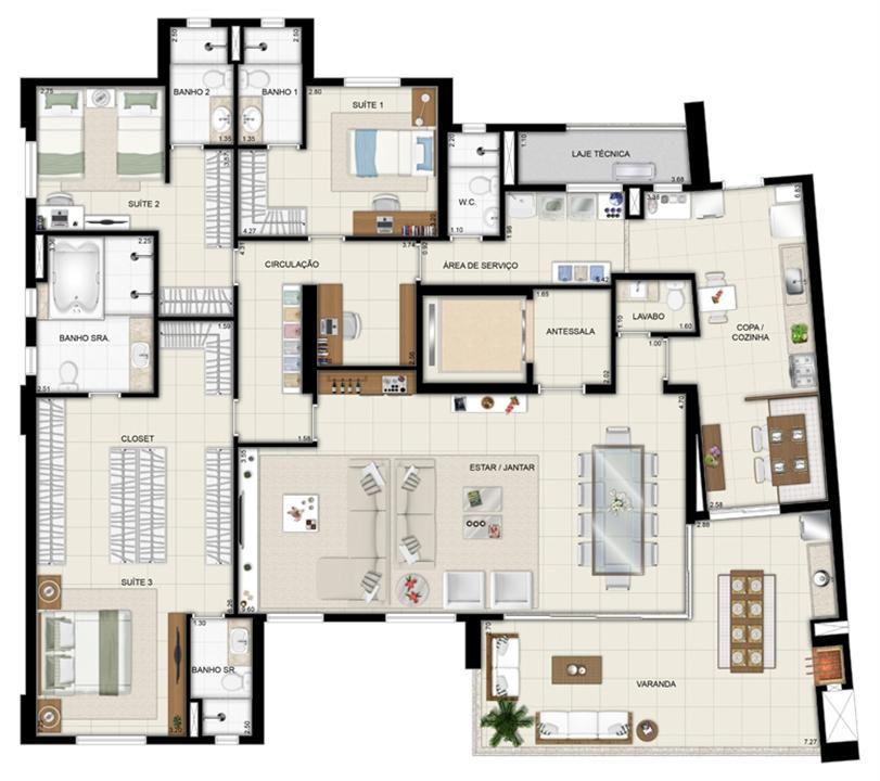 Planta opção - Torre Parc - Final 01 233 m² | Chateau Marista LifeStyle – Apartamentono  Setor Marista - Goiânia - Goiás
