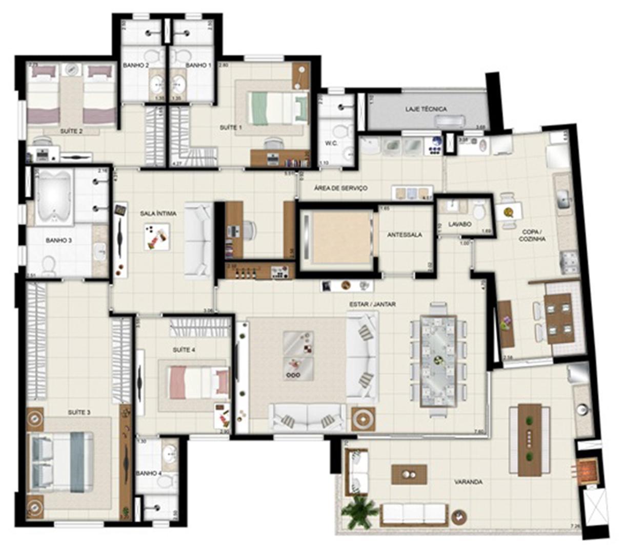 Planta opção - TorreParc - Final 01 233 m² | Chateau Marista LifeStyle – Apartamento no  Setor Marista - Goiânia - Goiás