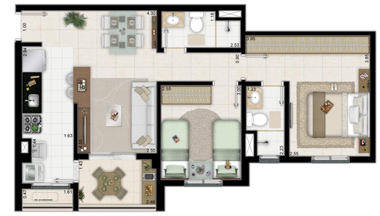 2 dormitórios com 1 suíte - 62m² | Way Orquidário – Apartamentono  Orquidário - Santos - São Paulo