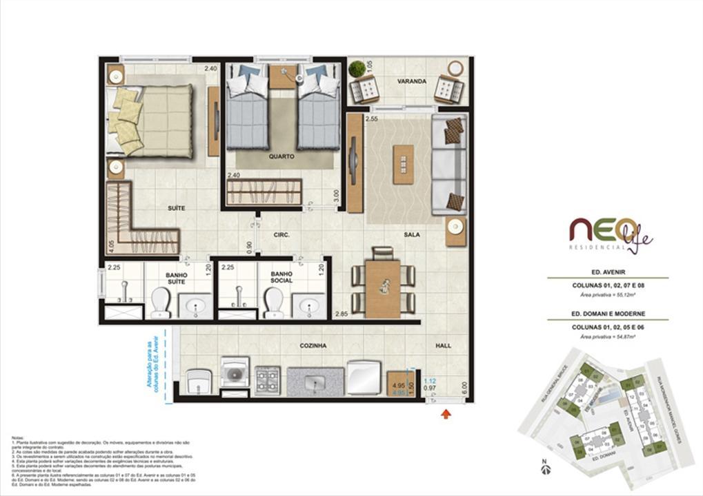 Colunas 1, 2, 5 e 6 | NEO Life Residencial  – Apartamentoem  São Cristovão - Rio de Janeiro - Rio de Janeiro