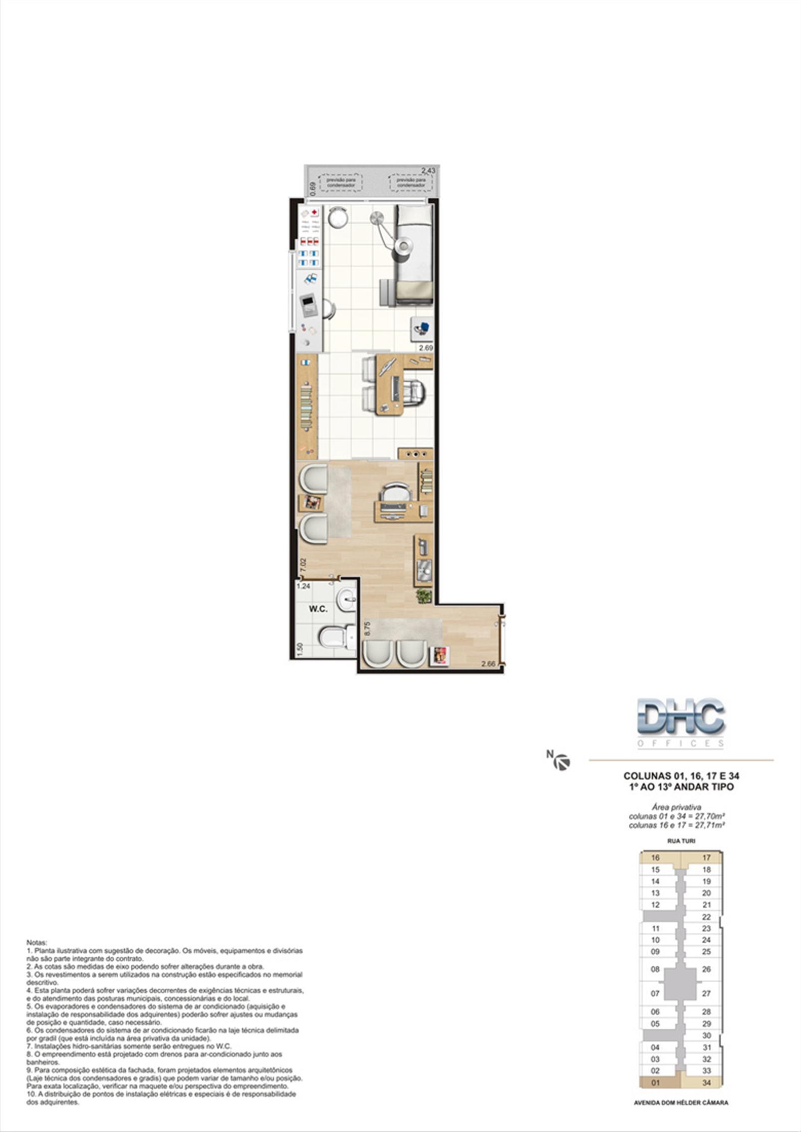 Colunas 01, 16, 17 e 34 -1° ao 13º andar tipo | DHC Offices – Salas Comerciaisem  Pilares - Rio de Janeiro - Rio de Janeiro