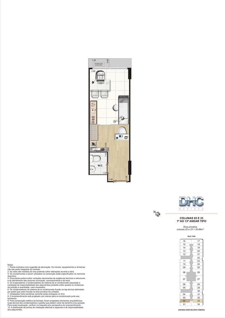 Colunas 02 e 33 -1° ao 13º andar tipo | DHC Offices – Salas Comerciais em  Pilares - Rio de Janeiro - Rio de Janeiro