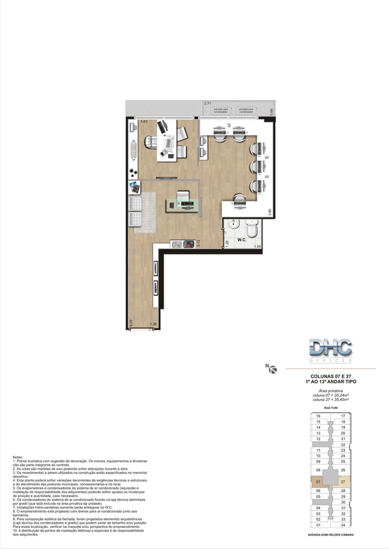 Colunas 07 e 27 -1° ao 13º andar tipo | DHC Offices – Salas Comerciaisem  Pilares - Rio de Janeiro - Rio de Janeiro