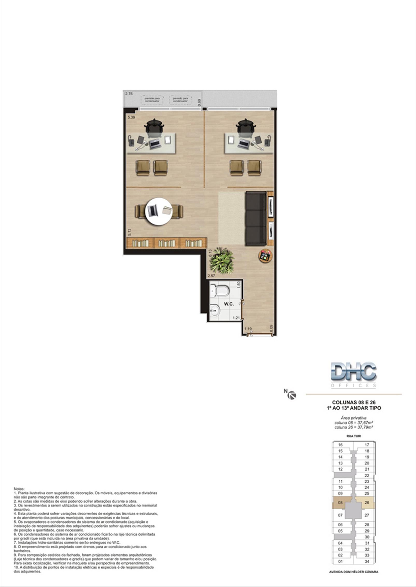 Colunas 08 e 26 -1° ao 13º andar tipo | DHC Offices – Salas Comerciaisem  Pilares - Rio de Janeiro - Rio de Janeiro