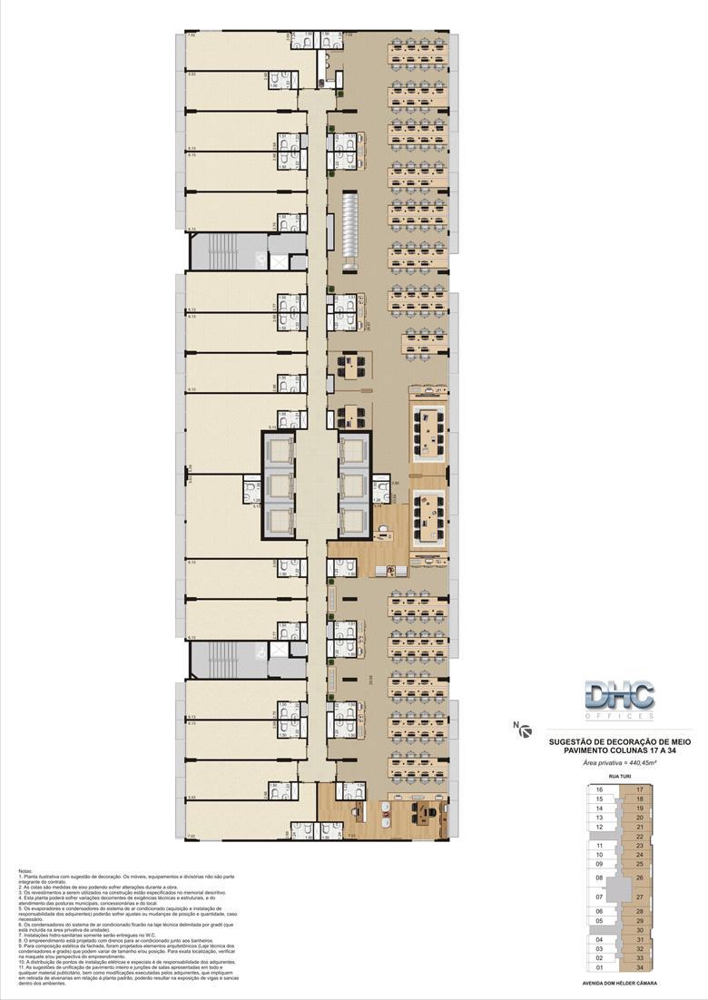 Sugestão de Decoração de Meio Pavimento - Colunas 17 a 34 | DHC Offices – Salas Comerciais em  Pilares - Rio de Janeiro - Rio de Janeiro