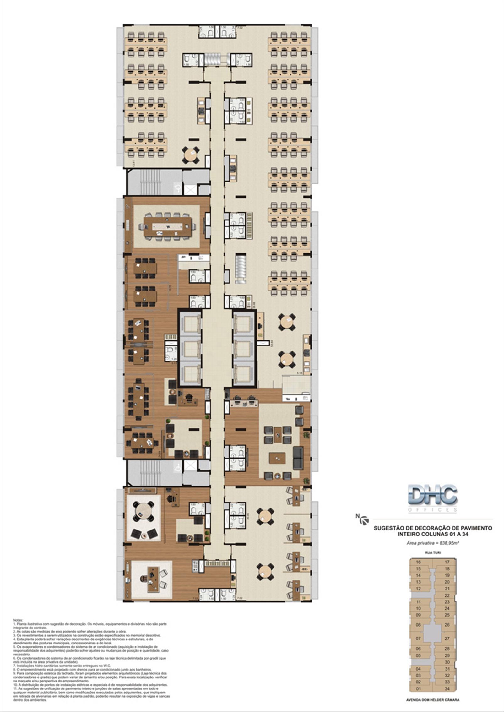 Sugestão de Decoração de Pavimento Inteiro - Colunas 01 a 34 | DHC Offices – Salas Comerciaisem  Pilares - Rio de Janeiro - Rio de Janeiro