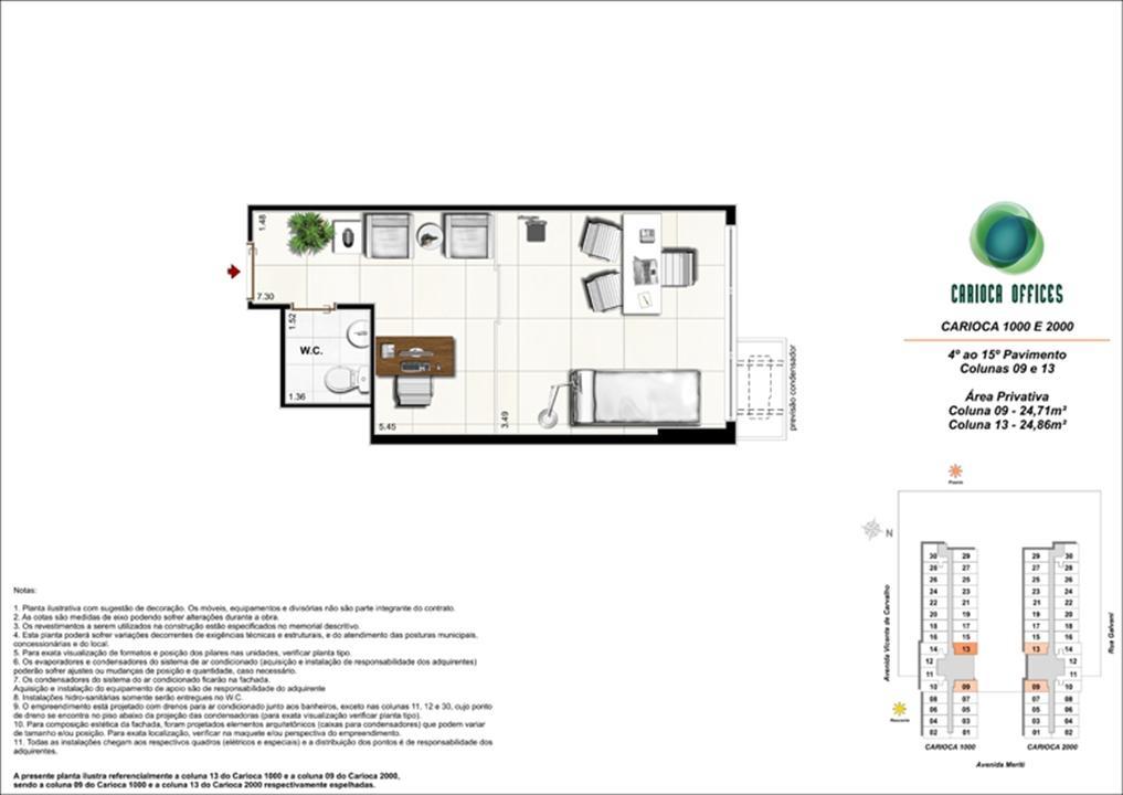 Sugestão de decoração - Carioca 1000 e 2000 - Colunas 09 -13 - 4º ao 15º Pavimento | Carioca Offices – Salas Comerciaisna  Vila da Penha - Rio de Janeiro - Rio de Janeiro